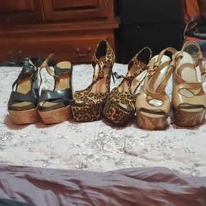 3 pairs of gently used wedges